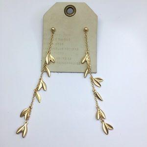 NWT Anthropologie gold leaf earrings